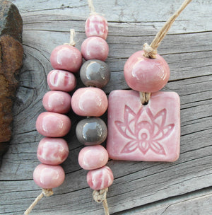 Bead Set 54 Cameo Pink Accent Beads Handmade Ceramic