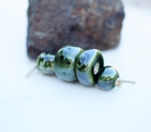 Emerald Green Ceramic Bead Set. Handcrafted Porcelain Cermaic Beads. Dark Green. Big Beads. Cindy's Art and Soul.