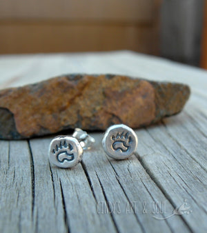 Bear Claw Earrings. Silver Nugget Post. Pure Silver. Posts.