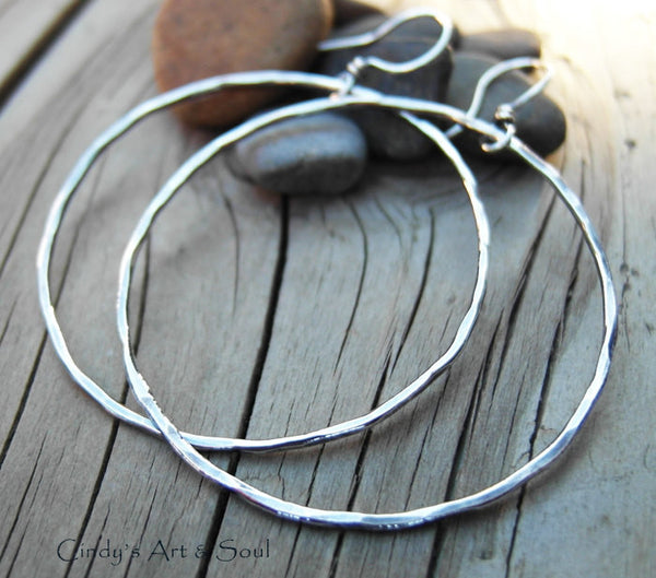 Big Silver Hoops. All Silver Hammered Hoop Earrings. Made to Order.