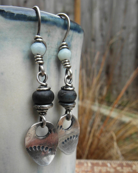 Black Gemstone earrings with Silver Nugget charms are Earthy and Rustic.