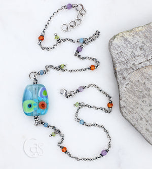 Boho Bloom. Beaded Gemstone Necklace. Artisan Lampwork Focal. Amethyst. Aquamarine. Peridot.