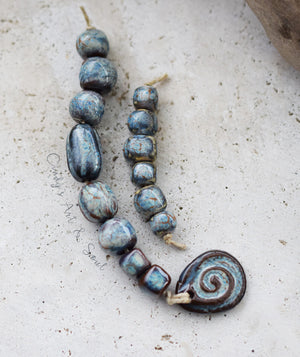 Handcrafted Blue Ceramic Beads