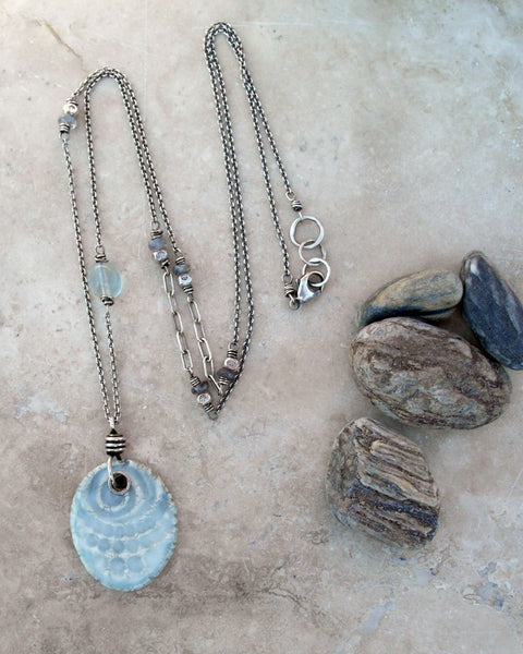 Long Layering Necklace with Blue Ceramic Pendant and Gemstones. Designer Jewelry by Cindy's Art & Soul