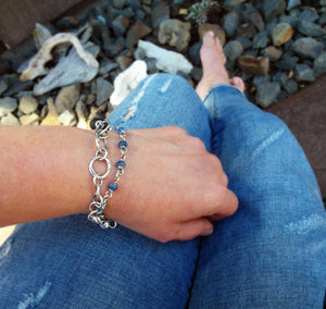 Silver Chain Bracelets. Black stone and Blue Kyanite Gemstones.