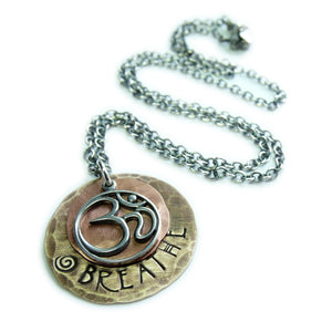 Silver Ohm Necklace Breathe Om Charm