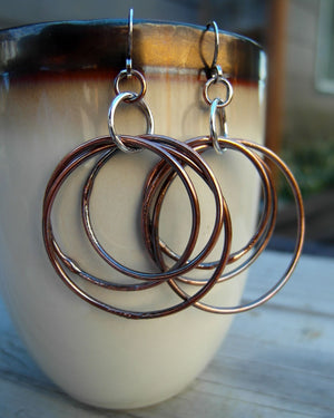 Hoops in Pure Copper. Triple Hoop Earrings. Handcrafted Autumn. 92216A