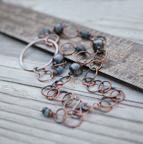 Handcrafted Chain Necklace Beaded Rusty Blue Ceramic Chain Necklace
