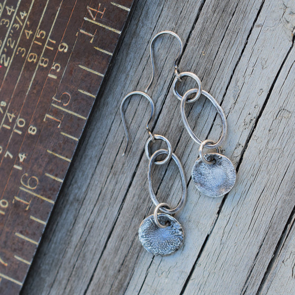 All Silver Hoop Earrings with Silver Charm Dangles 82616