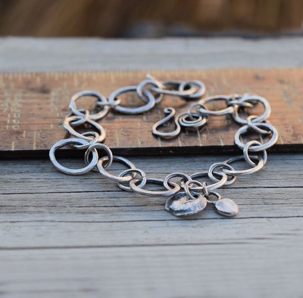 Solid Silver Chain Bracelet Handcrafted Link Chain Pure Silver 82416