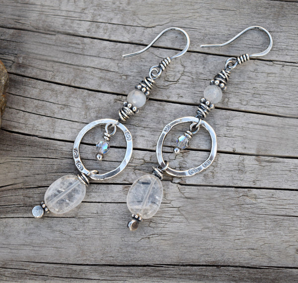 Moonstone Gemstone Earrings. The Ice Queen Crystal Hoops. 11172