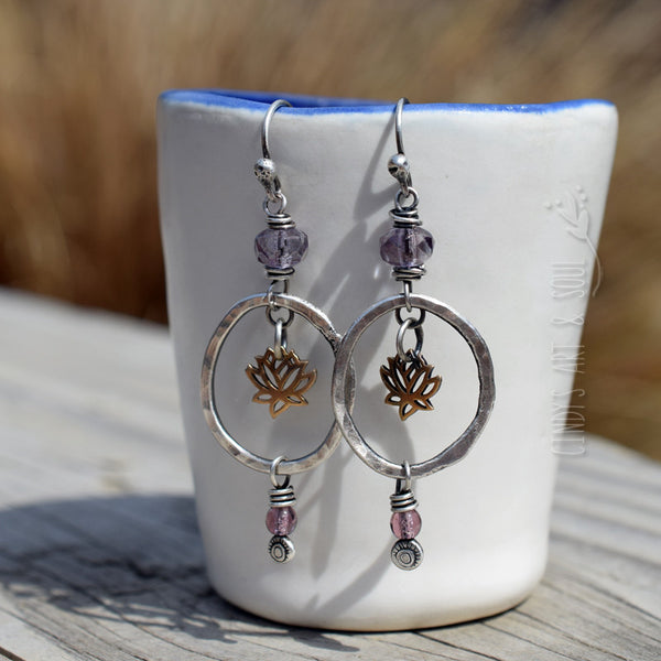 Lotus Earrings. Amethyst Czech Glass Beaded Hoops. Fine Silver Hoop Earrings. Cindy's Art & Soul