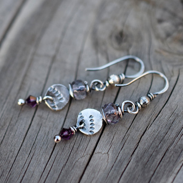 Amethyst Silver Nugget Earrings. Swarovski Sparkle. Plum. 12169