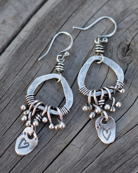 Silver Hoop Earrings. Ball Babies. Hearts. 12166