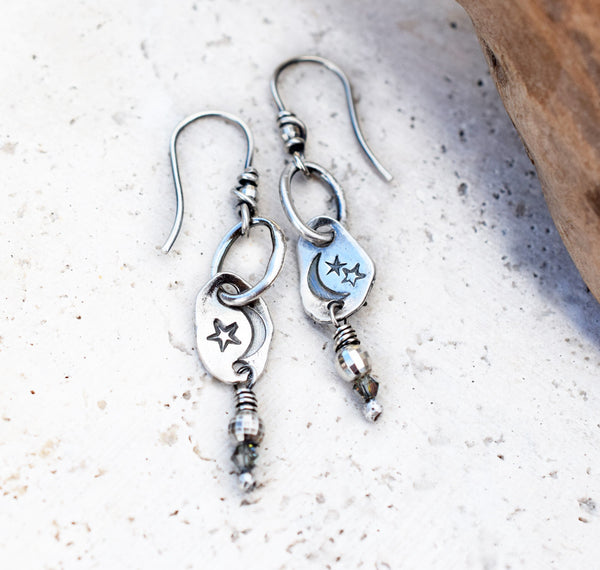 Silver Nugget Moon Earrings. Celestial Star Dangle Earrings. Cindy's Art & Soul 4183