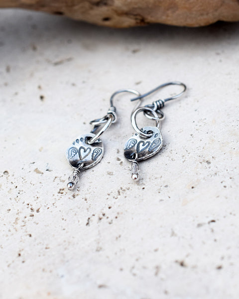 Wings Of Hope. Silver Nugget Angel Wing Earrings. Heart Earrings.
