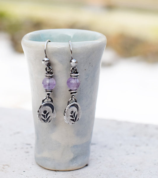Amethyst Gemstone Earrings. Silver Nugget Moon Dangles. 32701