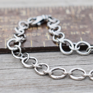 Fine Silver Chain Bracelet Handcrafted Pure Silver Jewelry 92916