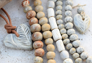 Handmade Ceramic Beads. Nuetrals. Earth. Bead Set 21730