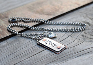 Love Charm Necklace. Custom, Hand Stamped. Mixed Metals. Cindy's Art & Soul