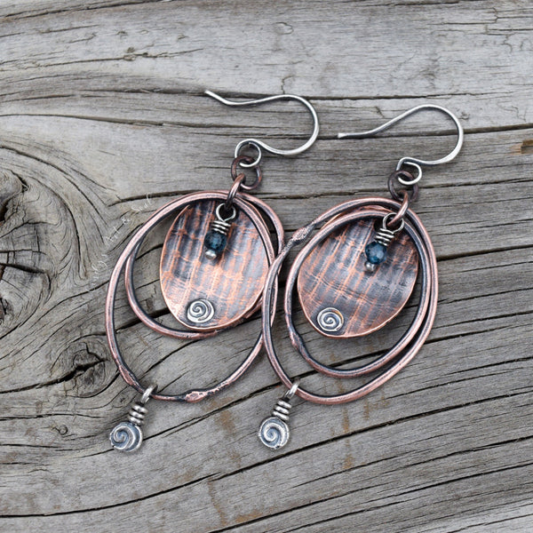 Copper Hoop Earrings w Blue Quartz Gemstones A7146