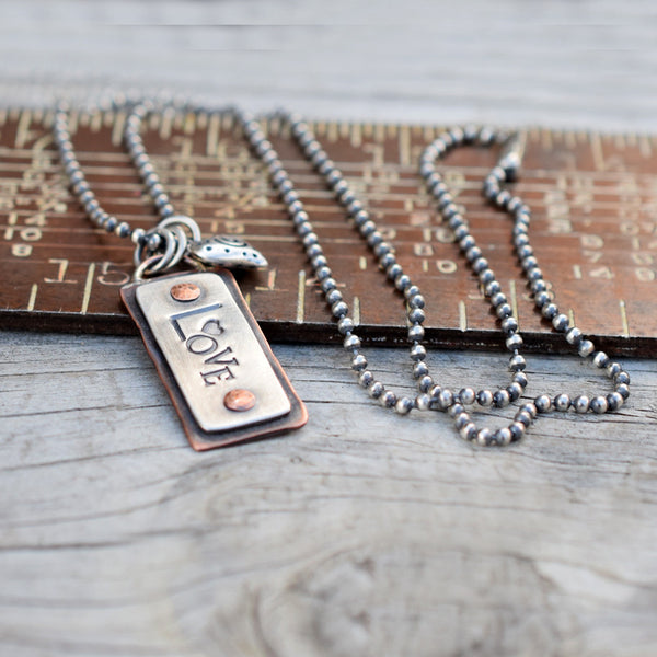Love Charm Necklace Custom Mixed Metals