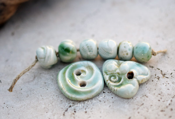 Ceramic Beads. Green and Aqua Porcelain Bead Set 2175