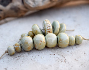 Ceramic Bead Set. Pale Green Beads. Large Beads. 2172
