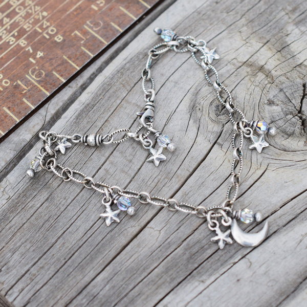 Crescent Moon Necklace. Sterling Silver. Star Crystal Charm. Winter Solstice Jewelry. 11171