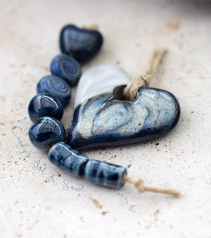 Heart Pendant Bead White Stormy Blue. Handcrafted Ceramic Bead. 21713