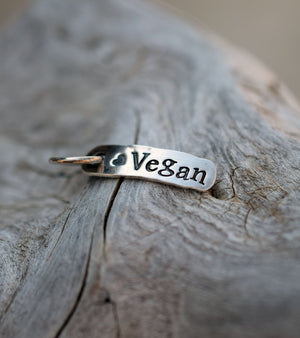 Fine Silver Charm Hand Stamped. Vegan. With Closed Ring.
