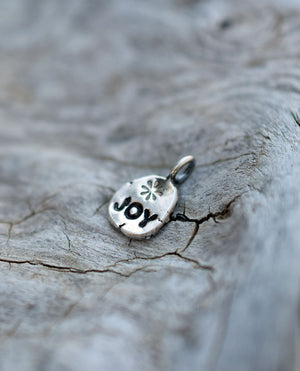 JOY Fine silver pendant Charm with Bail.