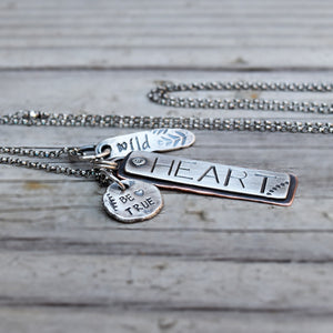 Wild Heart Necklace. Long Mixed Metals. Rustic Stamped Jewelry.  11167