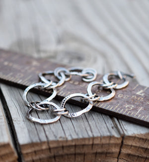 all silver chain link bracelet, handcrafted.