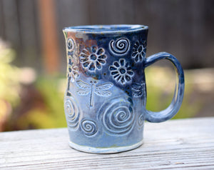 Hand Built Dragonfly Flower Mug. Blue Pottery. Housewares.