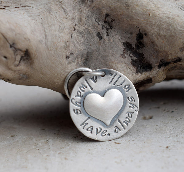 Inspirational Key fob. Sterling Silver. Puffy Heart Charm. Love. Cindy's Art & Soul