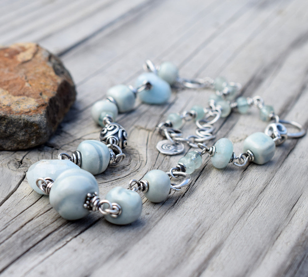 Aquamarine Gemstone Necklace w Bali Silver. Sky Blue Ceramic Beaded Chain. Cindy's Art and Soul 4172