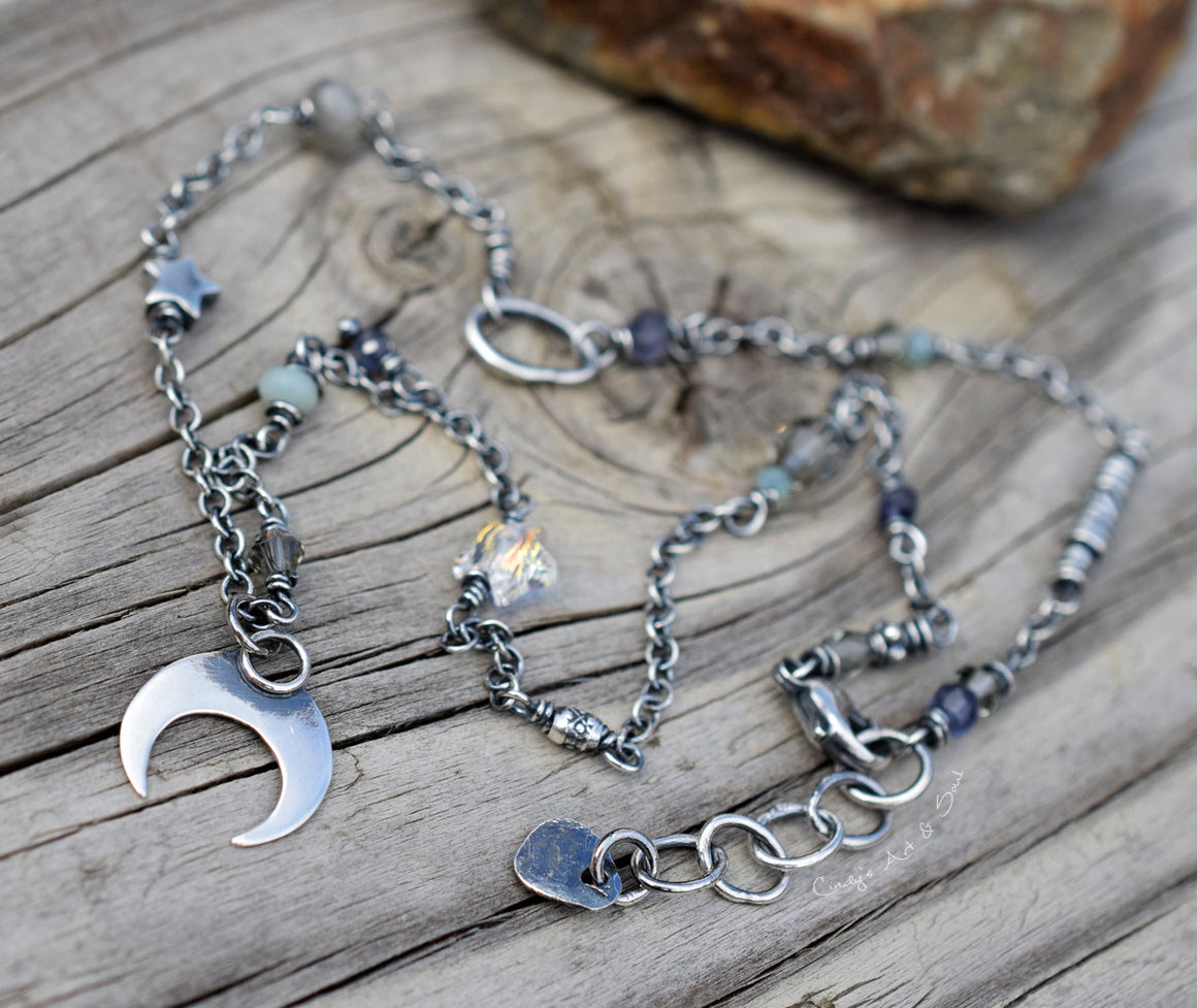 Crescent Moon Necklace. Handcrafted Sterling Silver Jewelry. Cindy's Art and Soul 4171