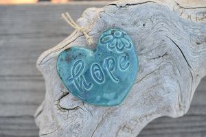 Hope Wall Hanging Rusty Teal Heart