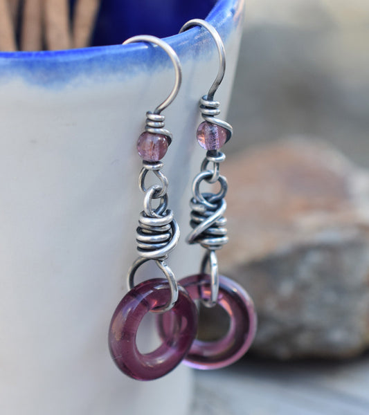 Plum Hoops. Purple Glass Hoop Earrings. Fine Silver. Cindy's Art & Soul 4184