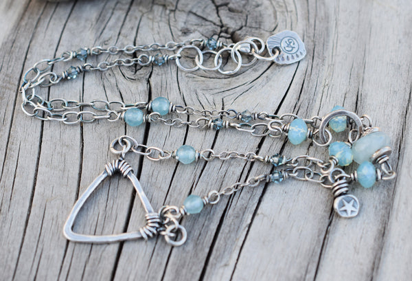 Silver Triangle Necklace. Aquamarine Gemstone Beaded Necklace. Cindy's Art & Soul 4177