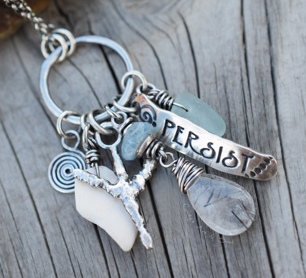 Talisman Necklace. Ring Necklace. All Silver. Gemstones. Beach Finds. Sea Glass. Runes.