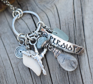 Mermaid Necklace with Genuine Beach Glass in Fine Sterling Silver