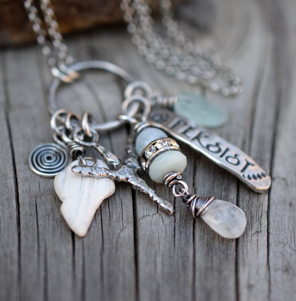 Custom Talisman Necklace. Ring Necklace. All Silver. Gemstones. Beach Finds. Sea Glass. Runes.