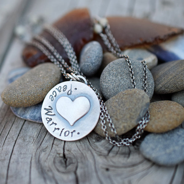 Peace Warrior Necklace. Puffy Heart Charm. Sterling Silver.