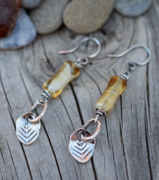 Silver Nugget Tree Hugger Earrings in Amber