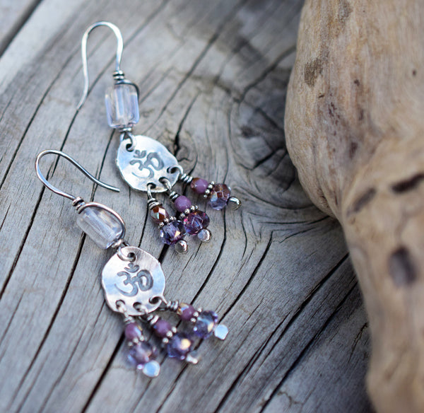 Amethyst Gemstone Earrings. Fine Silver Jewelry by Cindy's Art and Soul