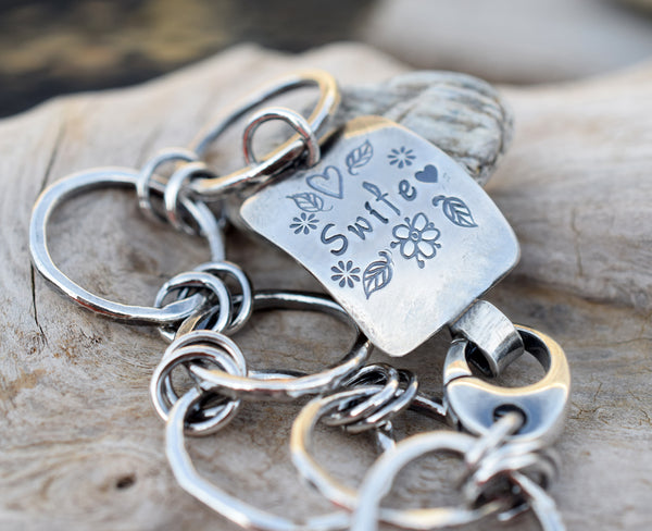 Personalized Silver Chain Bracelet. Inspirational Jewelry. Custom. Cindy's Art and Soul Jewelry.