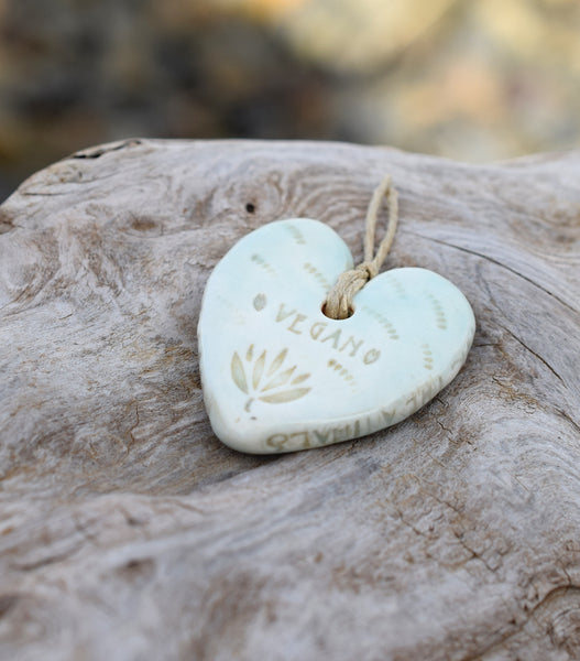 Vegan. Compassion For Animals. Heart Pendant. Aqua Blue Porcelain Ceramic Hearts. Inspirational. Cindy's Art and Soul