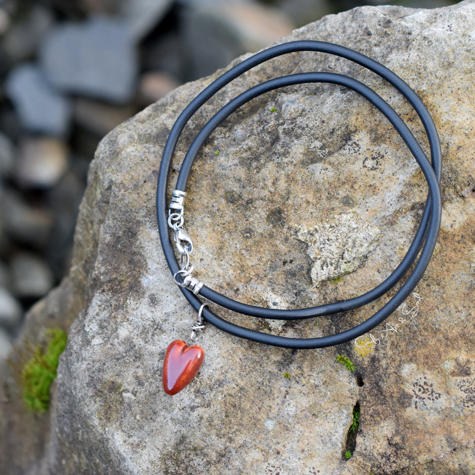 Vegan Leather Cord. Black Rubber Bunna. Faux Leather. Handmade Necklace. Sterling Silver.